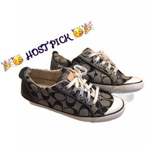 🥳HP🎉Coach | Black & Grey Barrett Sneakers 7.5